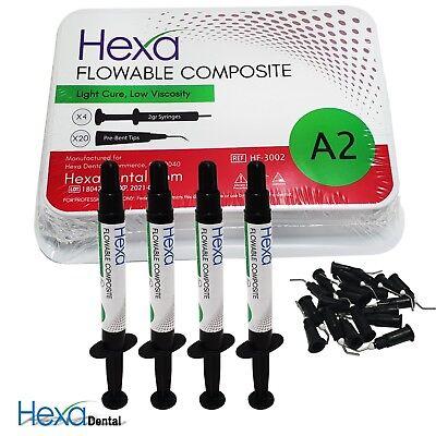 Hexa Flowable Composite Light Cure Low Viscosity 4x 2g Syringe All Shades Fda