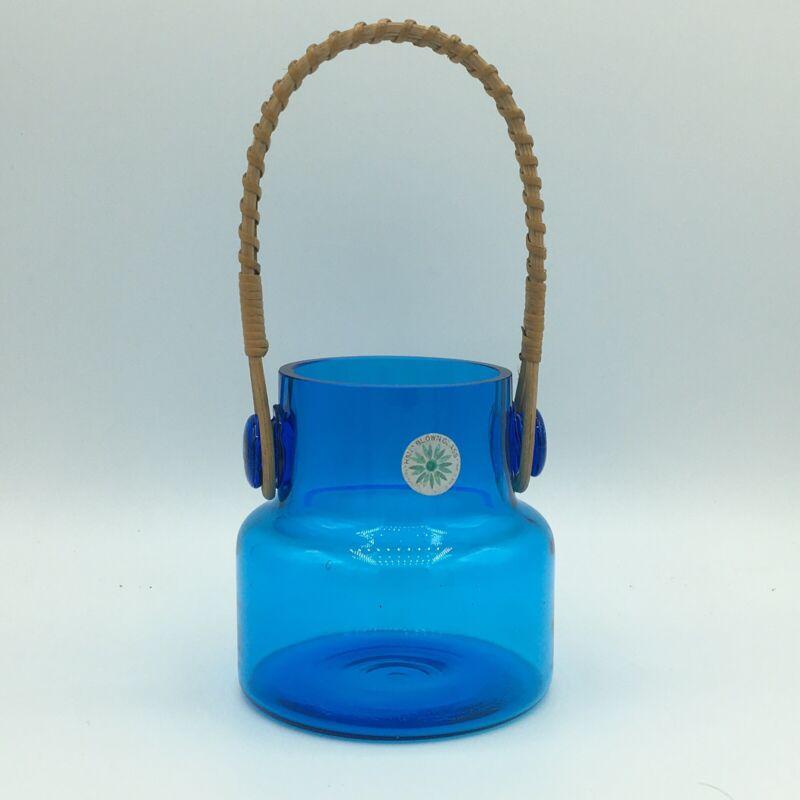 MCM Takahashi hand blown jar made in Japan peacock blue cobalt