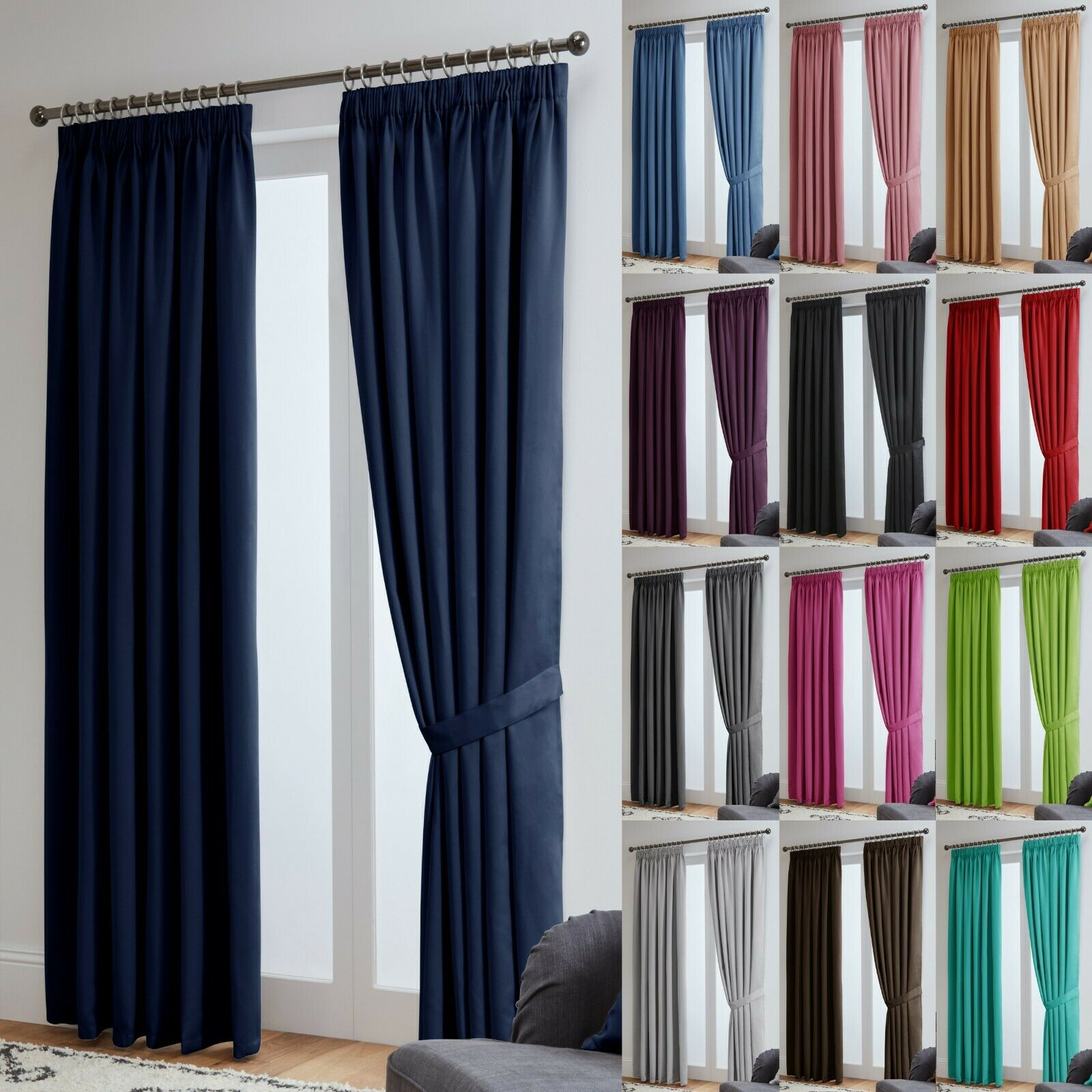 curtains - Blackout Curtains Thermal Pencil Pleat Tape Top - Energy Saving + Tie Backs