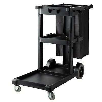 Black 25 Gal Janitorial Cleaning Cartjanitor Cart With 3 Shelves And Vinyl Bag