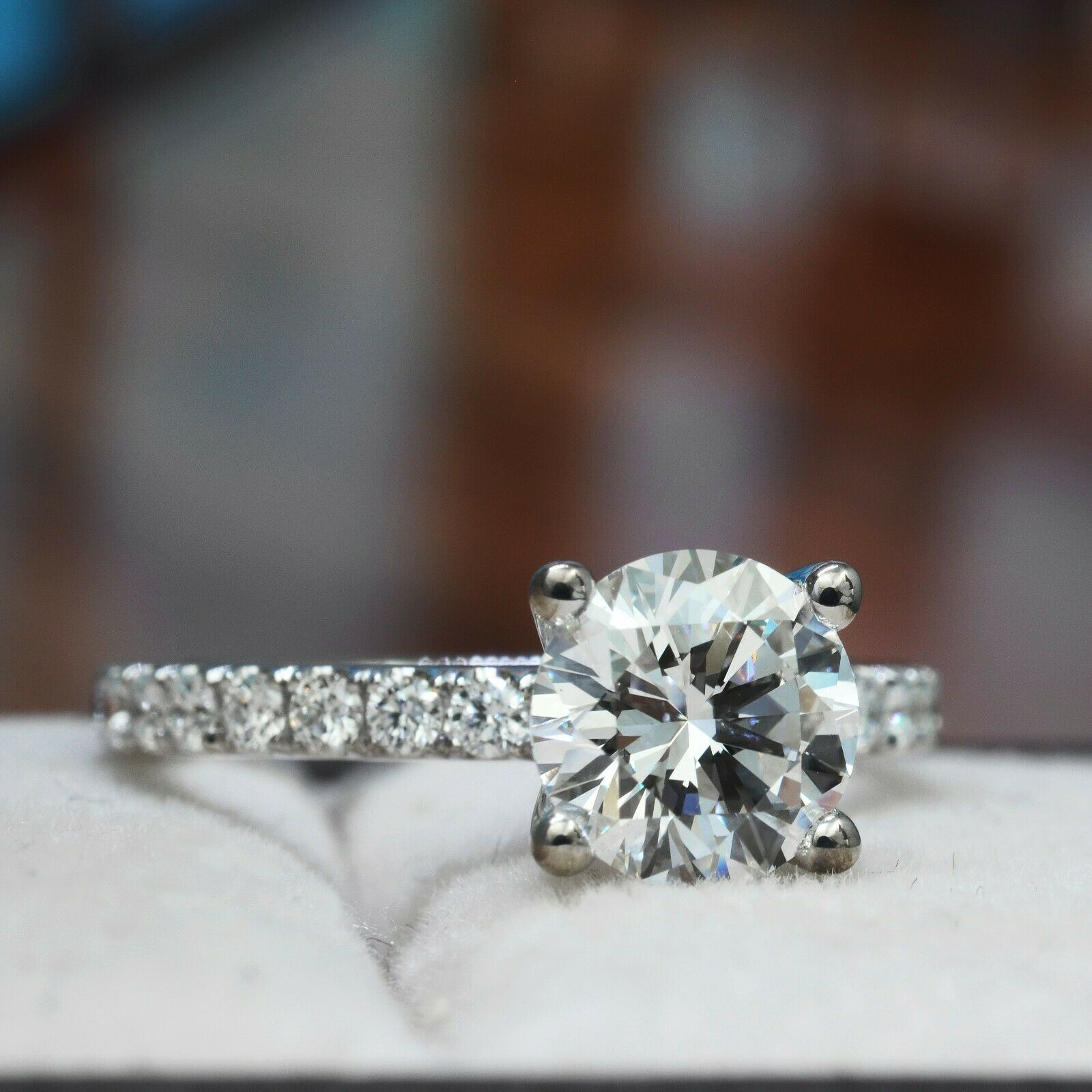 1.57 TCW Natural Round Cut U-Pave Diamond Engagement Ring - G-SI1 Triple X GIA  1