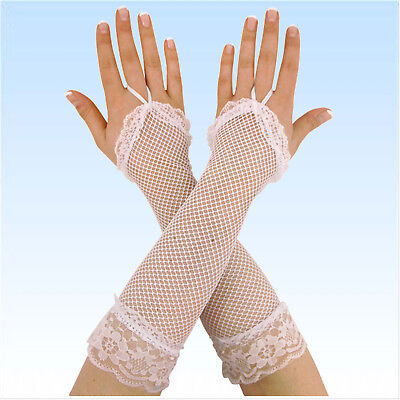 Lange Fingerlose Netzhandschuhe WEIß Netz Handschuhe Handschuh Fingerlos
