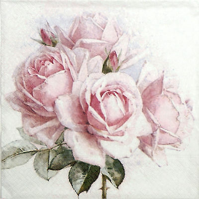 20x Lunch Paper Napkins Serviettes Party, Decoupage - Vintage Pink Roses