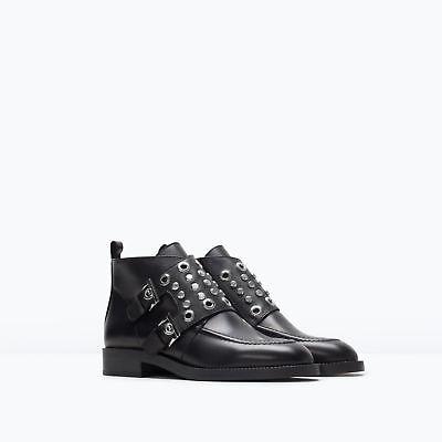 Zara Ankle Boot Size 6.57.5/8/ Black Studded 37/38/39