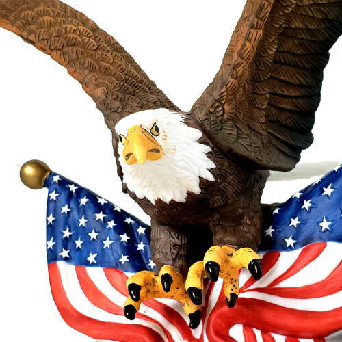 Bald Eagle With American Flag Figurine