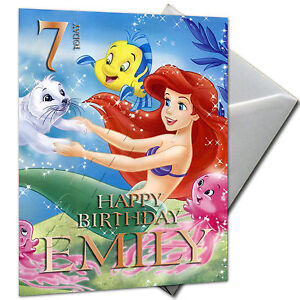 THE-LITTLE-MERMAID-ARIEL-PERSONALISED-Birthday-Card-Large-A5-Envelope