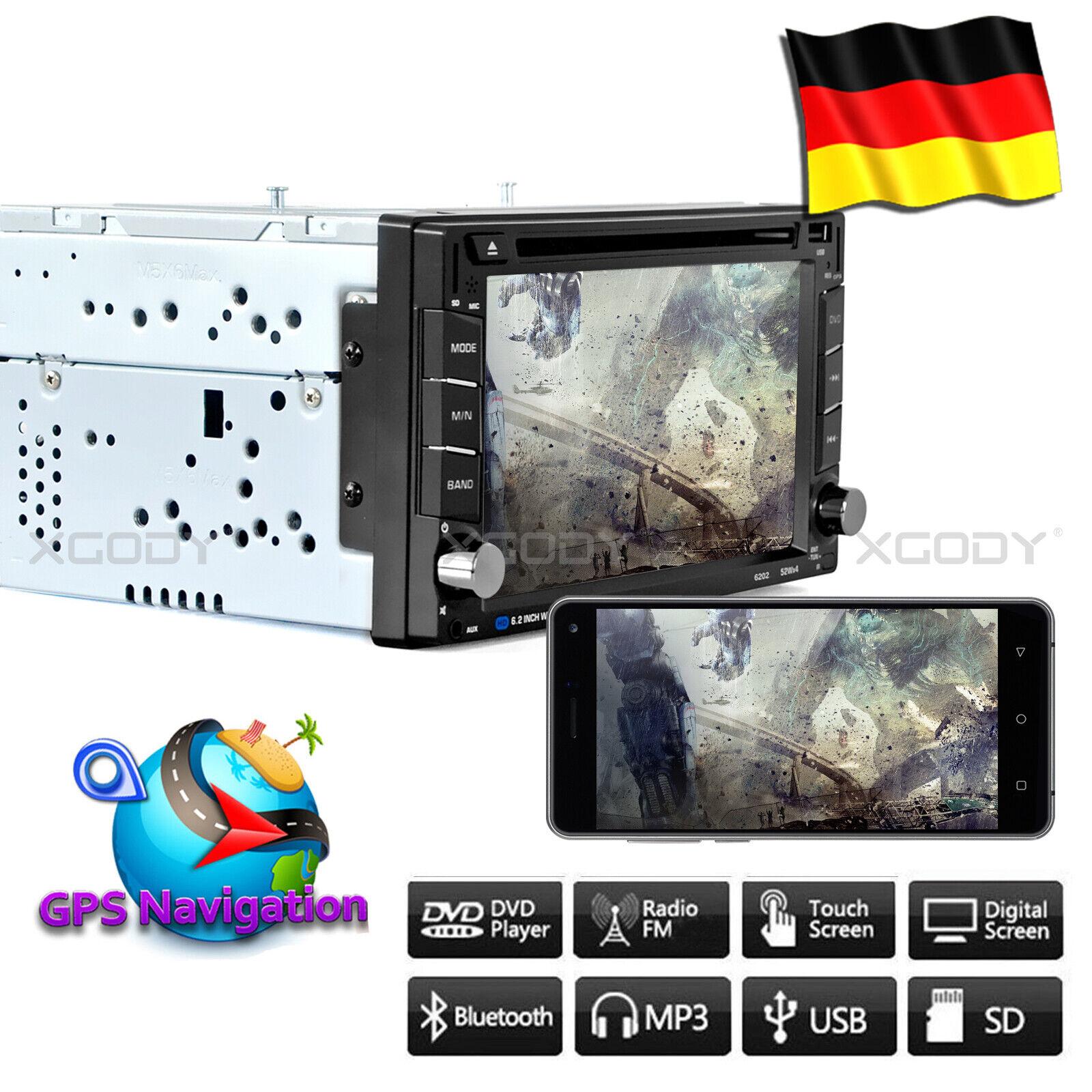 AUTORADIO MIT NAVIGATION TOUCHSCREEN NAVI BLUETOOTH USB GPS CD DVD Doppel 2 DIN