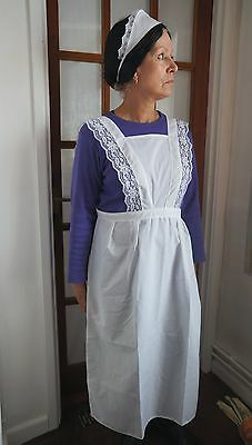 ADULTS VICTORIAN MAID COSTUME WAITRESS APRON * headband hat, very downton - Victorian Maid Kostüm