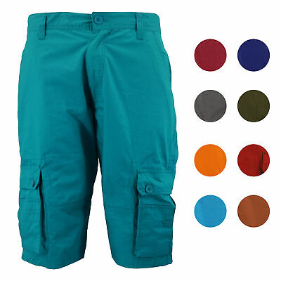 Cotton Solid Pockets Zipper - Men's Relaxed Fit Cotton Zip Fly Cargo Shorts Multi Button Flap Pockets