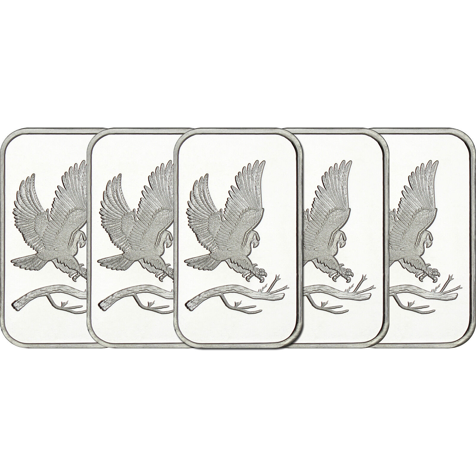 Trademark Bald Eagle 1oz .999 Fine Silver Bars by SilverTowne LOT OF 5