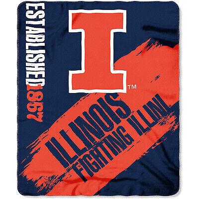 Illinois Illini NCAA College Painted Design 50x60 Fleece Throw Blanket Illinois Fleece Throw Blanket