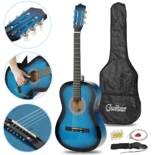 HOT Beginners Blue Hardwood Acoustic Guitar With Guitar Pick