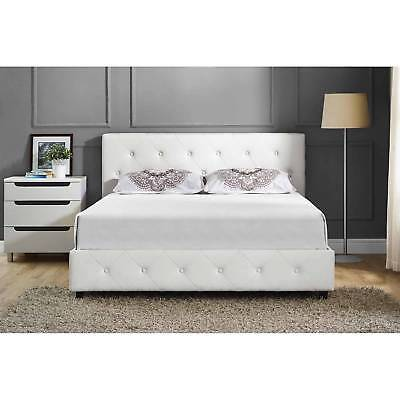 Upholstered Bed Frame Full Size Modern Tufted Headboard White Bedroom Furniture