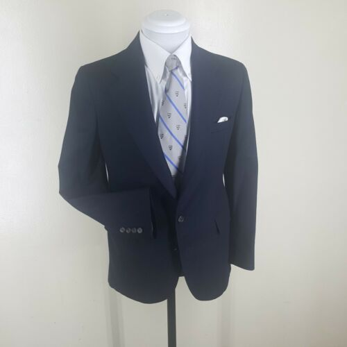 Boys POLO BY RALPH LAUREN Vintage  Made In U.S.A.  100% Wool Blue Blazer  17 Reg
