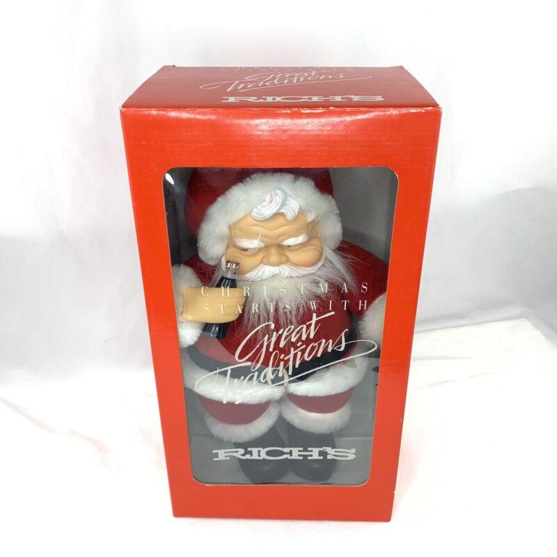 """1988 Richs Coca Cola Santa Claus 15"""" Rubber Face Doll Atlanta Dakin Francesca"""