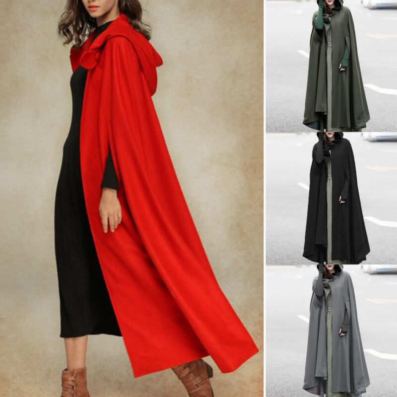 Winter Damen Lang Umhang Poncho Cape Kapuze Mantel Jacke Trench Coat Outwear Top