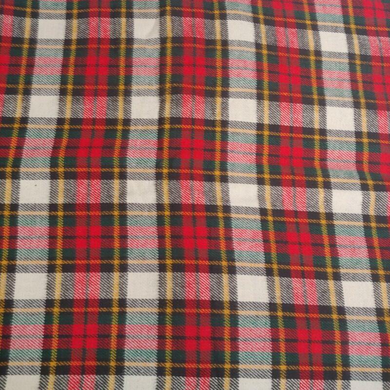 "Wool Plaid Tartan Fabric Piece Sewing Crafts Kilt 100""x46"" Wide Red Green Yellow"