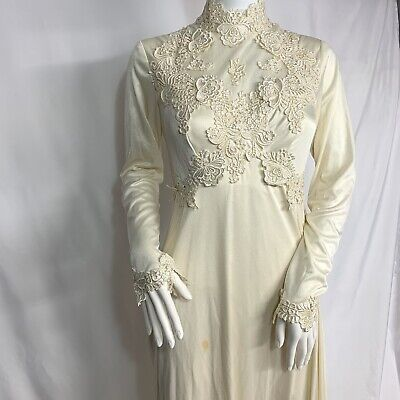 VINTAGE WEDDING DRESS GOWN Lace Long Train High Neck Ivory Handmade
