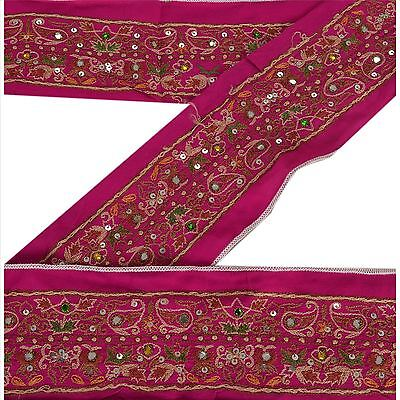 Vintage Sari Border Antique Hand Beaded 1 YD Indian Trim Sewing Golden Lace