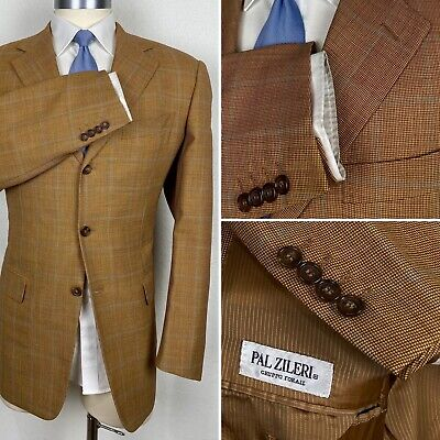 Pal Zileri Italy Custom Gold & Khaki Windowpane Plaid Blazer Sport Coat 44L