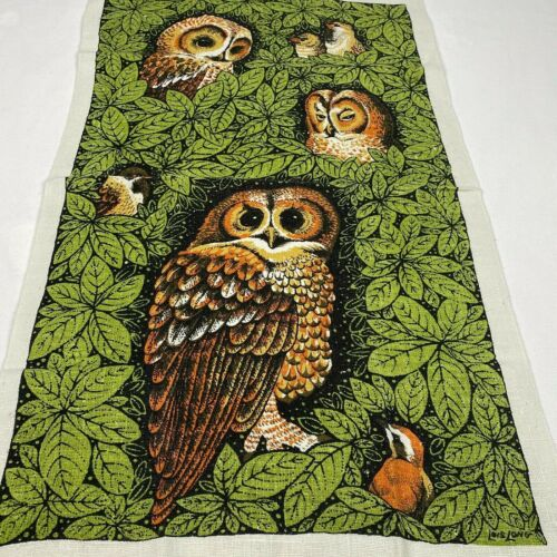 Vintage Lois Long Handprinted Owl Linen Tea Towel Mid Century