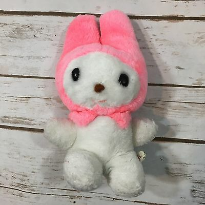 Vintage 1976 Sanrio My Melody Hello Kitty Friend White Pink Plush Stuffed Animal