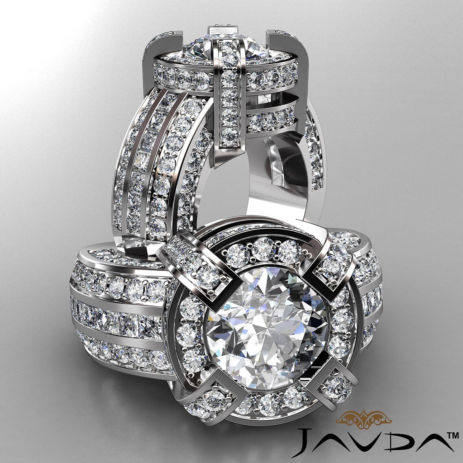 3.9ct Round Diamond Engagement Halo Pave Channel Set Ring GIA F VS2 Platinum