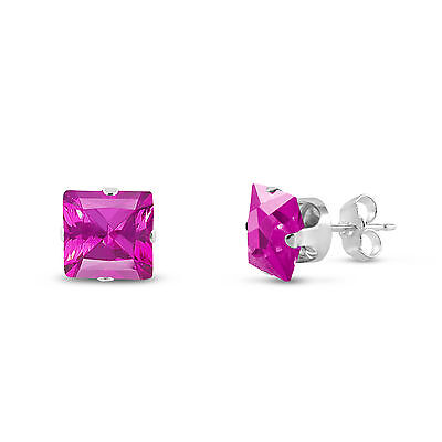 925 Sterling Silver Created Pink Sapphire Square Cut Stud - Created Sapphire Sterling Silver Earrings