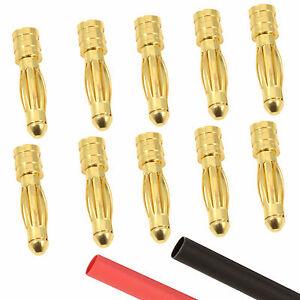 10 x RC 4mm Male Gold Bullet Connector + Heat Shrink Lipo Battery ESC Motor
