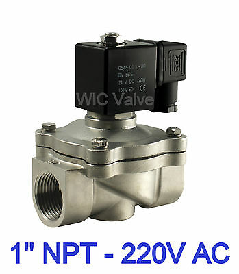 """Stainless Zero Differential Electric Air Water Solenoid Valve 1"""" Inch NC 220V AC for sale  Shipping to India"""