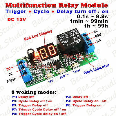 Dc 12v Led Display Multifunction Relay Plc Cycle Timer Module Delay Time Switch