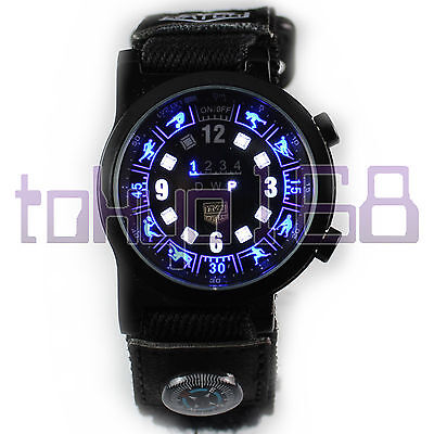Tvg Zodiac Blue White Flash Led Waterproof Watch With Compass New  Tokyo168