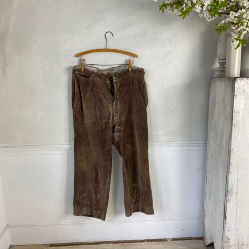 Soft Brown Corduroy Pants 1920s-30s French Workwear Work Wear Timeworn Pants