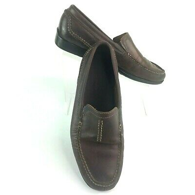 Clarks 79398 Brown Pebble Leather Slip-On Moccasin mens sz 10 M  Loafers