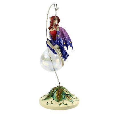 Enchanted Fairy Pixie Elf Hanging Ornament Statue Decor Gift Bubble Rider Purple