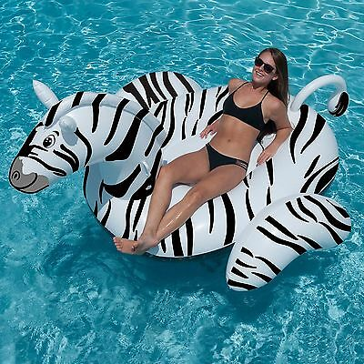 Swimline 90714 Giant 97 5  Inflatable Swimming Pool Zebra Ride On Float