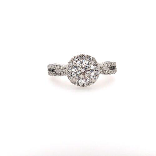 1 Carat Round Brilliant Cut G - SI1 Diamond Halo Engagement Ring 18k White Gold
