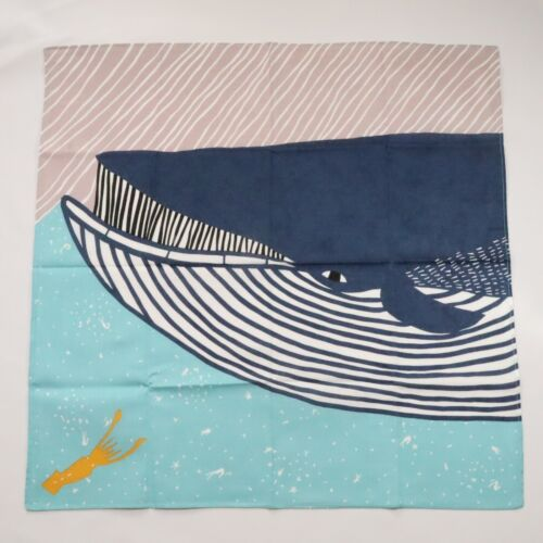 Japanese Furoshiki Fin Whale Wrapping Cloth Cotton 100% Blue from Kyoto