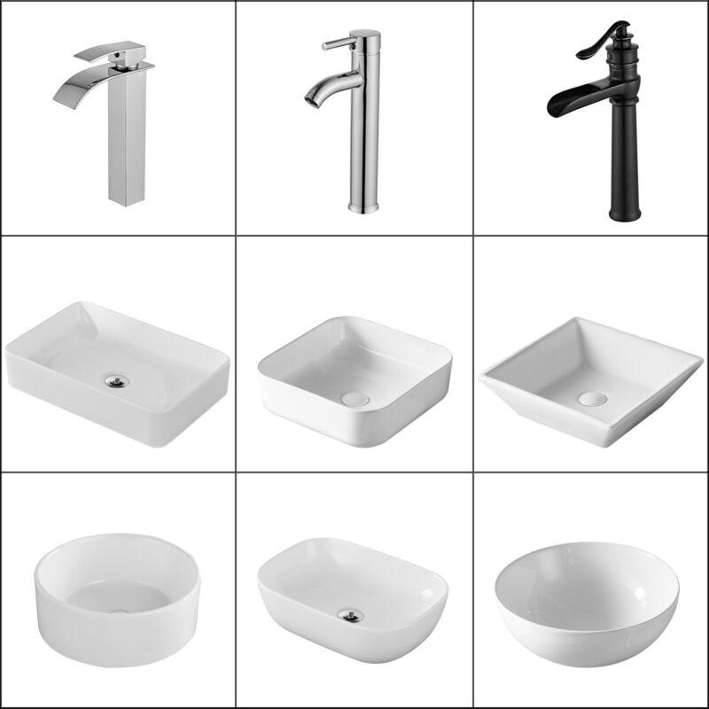 Ceramic Bathroom Vessel Sink / Waterfall Basin Faucet Mixer Tap /Pop Up Drain