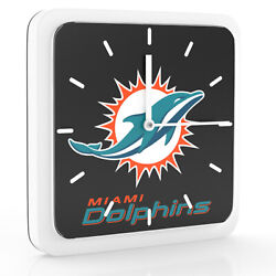 New 3 in 1 NFL Miami Dolphins Home Office Decor Wall Desk Magnet Clock 6 inches