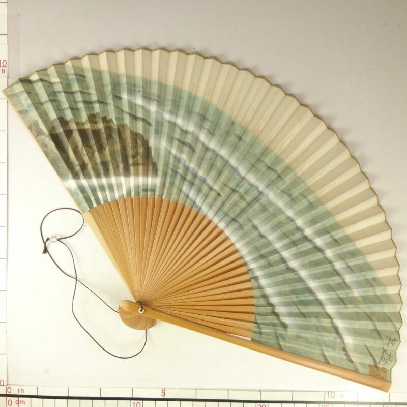 YU177 SENSU Japanese Fan Art painting Nihonga Picture Traditional crafts Vintage