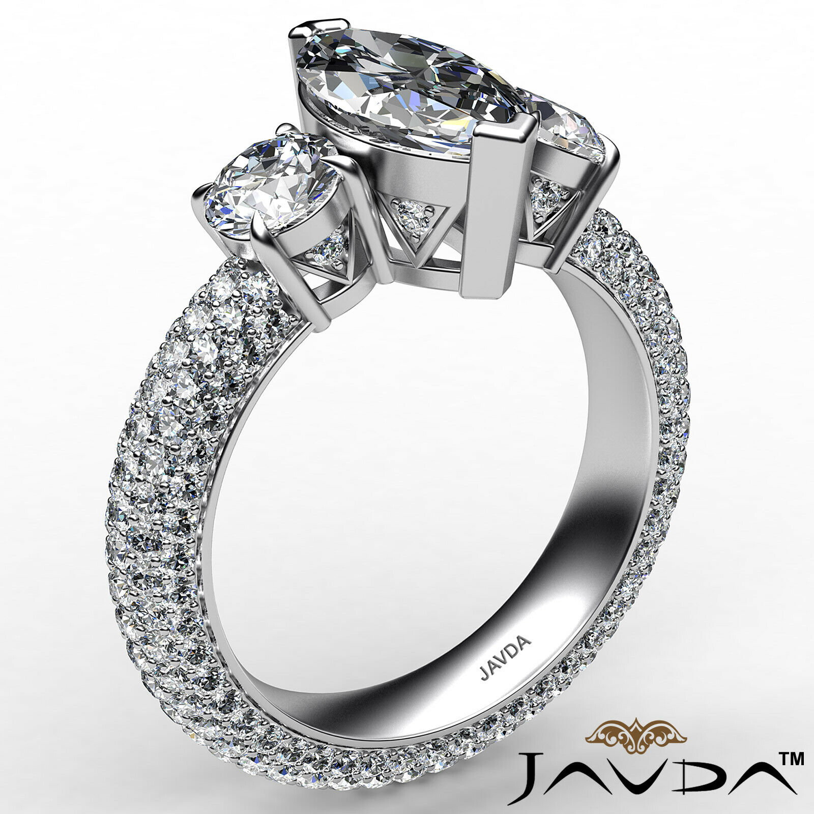 Marquise Diamond Engagement Pave Set Ring GIA K Color & VVS2 clarity 3.05 ctw 3