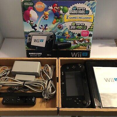 NINTENDO Wii U DELUXE 32GB Black Console W/ Original Box + Wii MotionPlus Remote