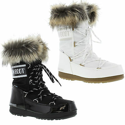 Moon Boots Monaco Low Womens Black White Waterproof Ski Snow Winter Size 4 7 5