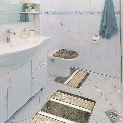 Scroll 3 Piece Bathroom Rug Set, Bath Rug, Contour Rug, Lid Cover, Sage Green 3 Piece Scroll Bath
