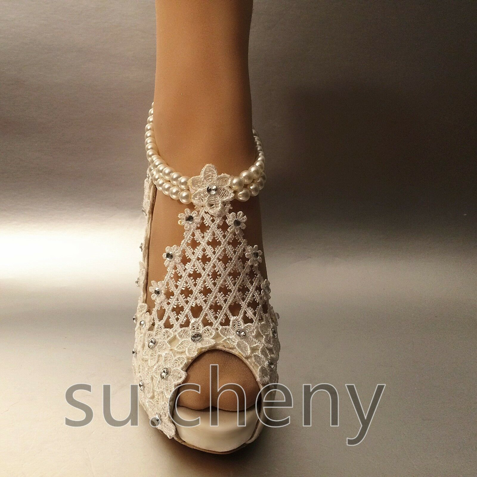 """su.cheny 3/"""" 4"""" silk white ivory lace peep toe pearls anklet Wedding Bridal shoes"""