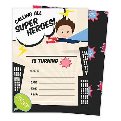 Superhero Boy 1 Happy Birthday Invitations Invite 25ct w/ Envelopes + Seal Party](Superhero Invitations)