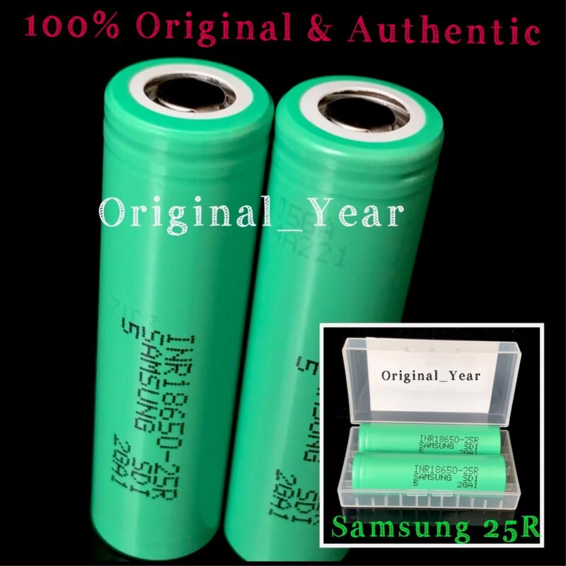 2 18650 Samsung 25r 2500mah 35a Rechargeable Battery For Vape Mods Free Case
