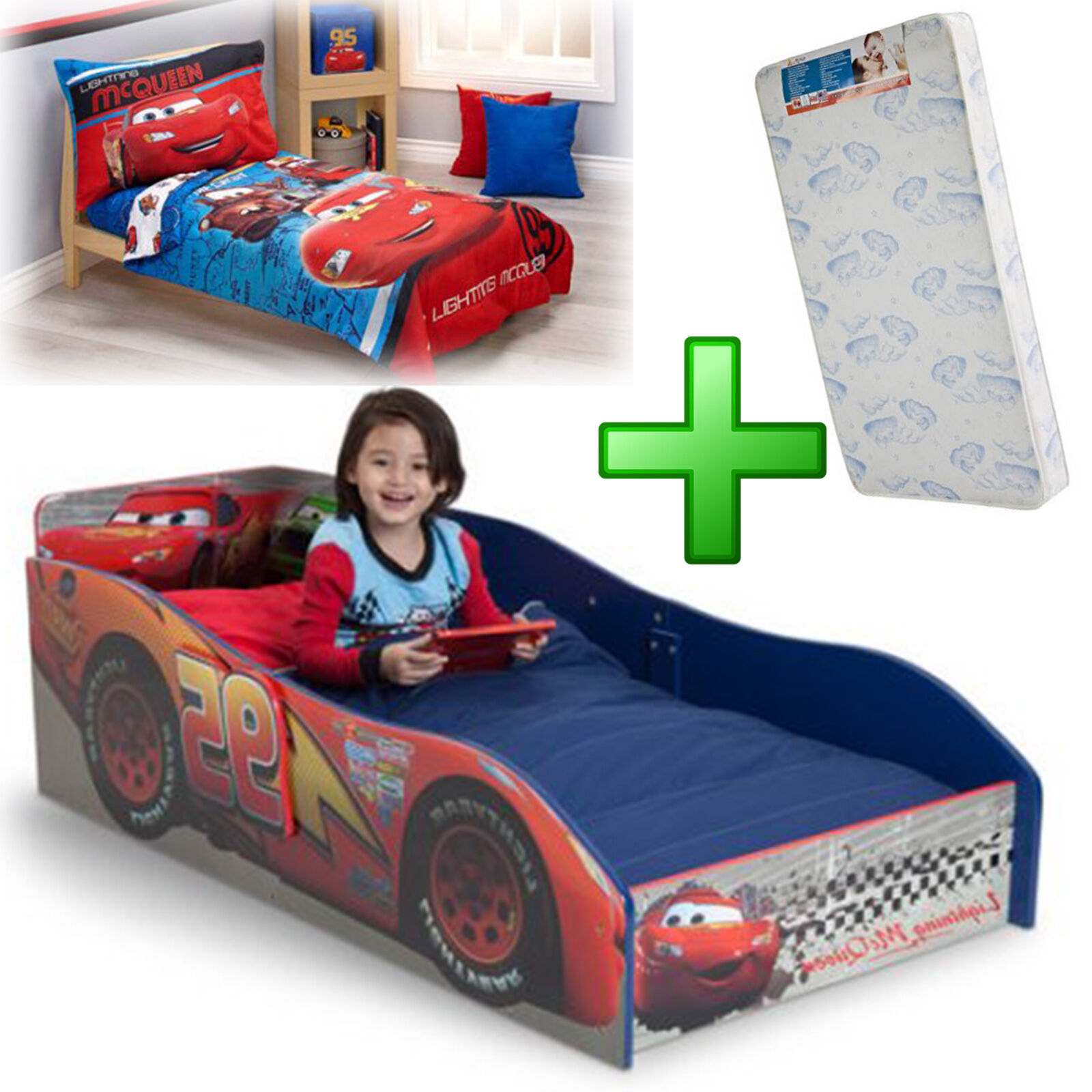 Toddler Bed Boy Mattress Wood Bedding Set Frame Kid Children