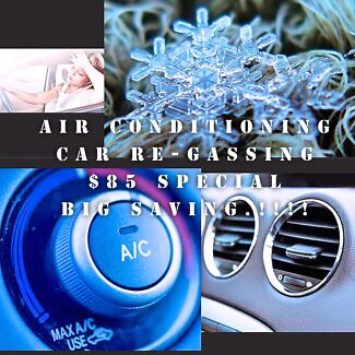 Air conditioning re-gassing $85 (Cars) Crazy price special.